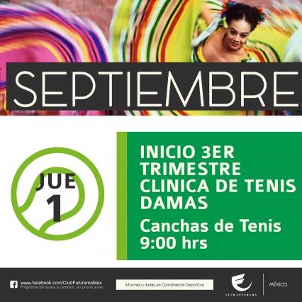 Inicio de tercer trimestre de clinica de Tenis damas
